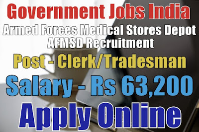 AFMSD Recruitment 2018 for Clerk Posts