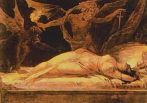 pintura de mujer durmiendo rodeada de ángeles