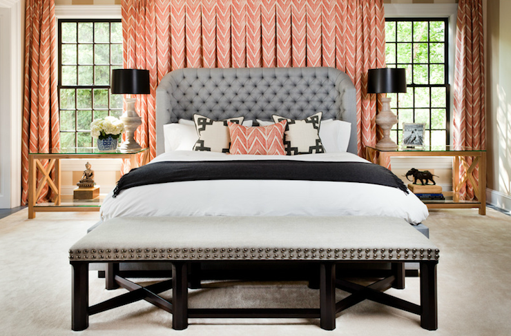 Interior Design on a Budget Coral and Grey Bedroom with Wingback Button Tufted Bed Frame Headboard