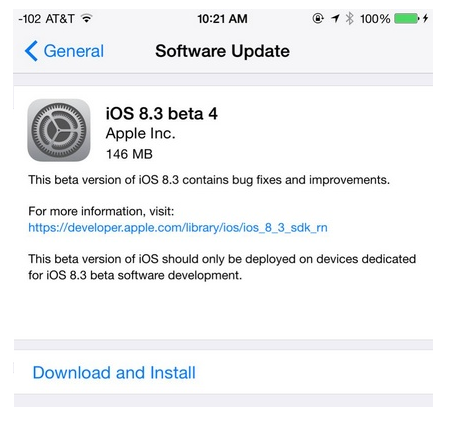 Apple iOS 8.3 Beta 4