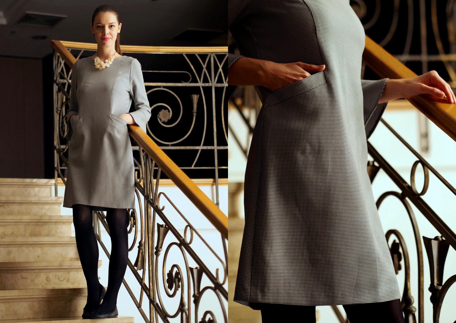 čierno-biele šaty so vzorom kohútia stopa // Aquaworld Budapešť