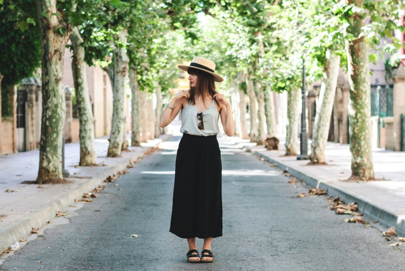 Stripes Black Culotte look