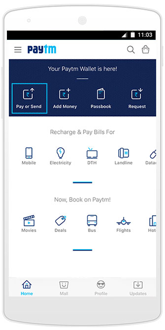 how to send money in bank account through paytm