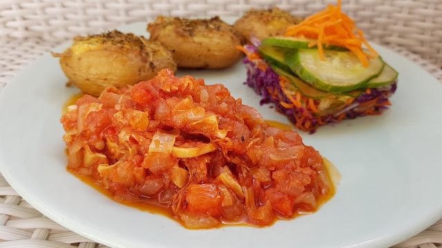 Carne mechada vegana de yuba o piel de soja