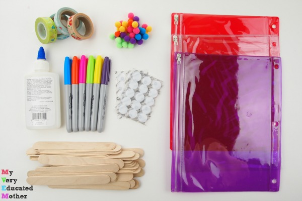 Supplies to make 7 Busy Bags Using Craft Sticks