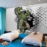 Vinilos de super héroes para decorar la habitación de los niños HULK