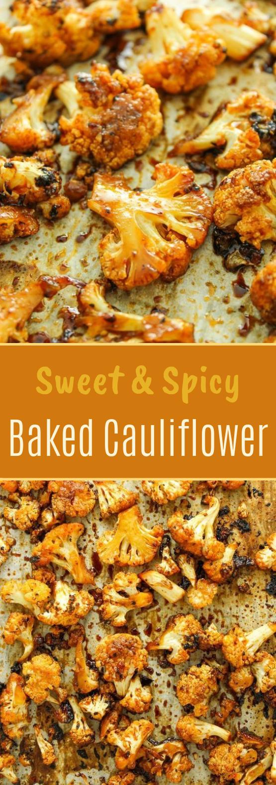 Sweet and Spicy Baked Cauliflower #sidedish #vegetarian