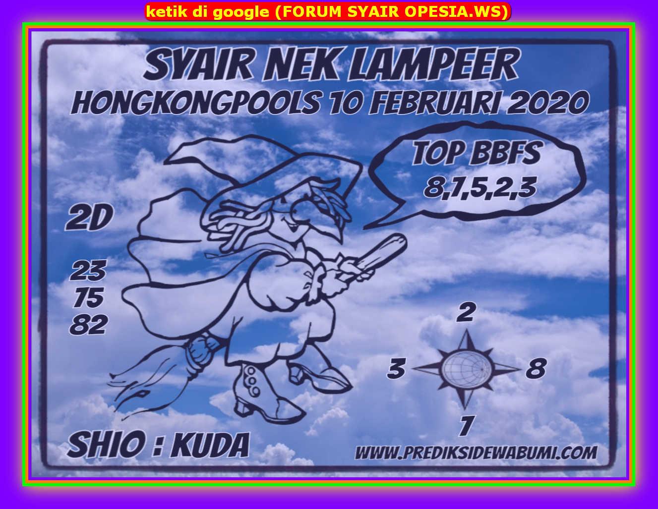 Kode syair Hongkong Senin 10 Februari 2020 130