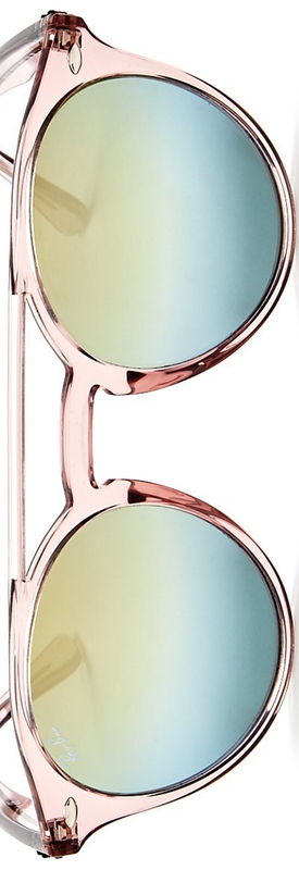 Ray-Ban Mirrored Round Sunglasses, 50mm Pink/Silver Gold Gradient Mirror