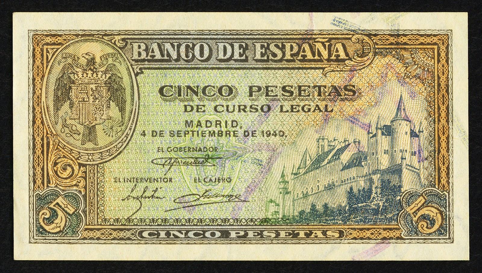 Spain Banknotes 5 Pesetas banknote 1940 Alcazar of Segovia