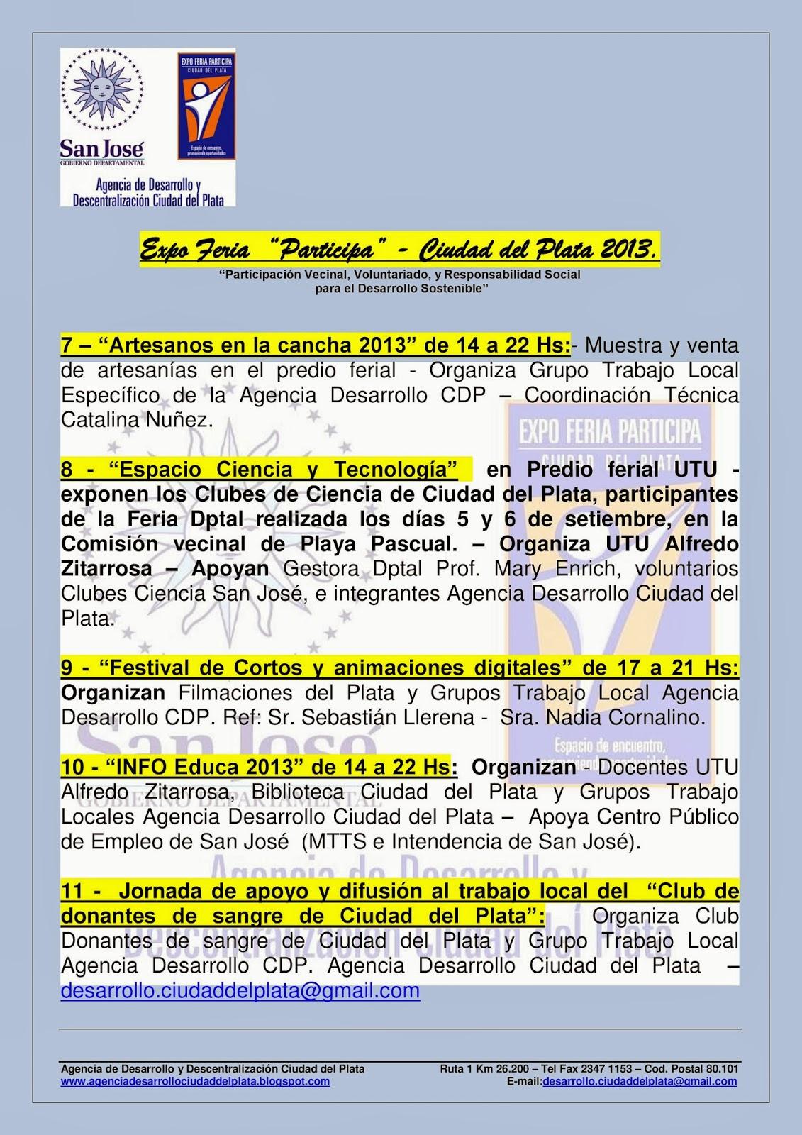 Agencia de Desarrollo y Descentralización Ciudad del Plata: Sábado 28 y domingo 29 de setiembre ...