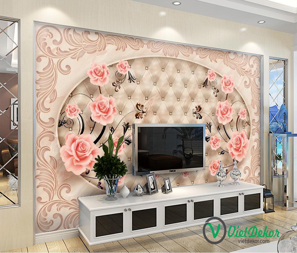Tranh dán tường 3d hoa hồng phòng ngủ đẹp