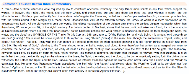 Jamieson-Fausset-Brown Bible Commentary.1 John 5:7. The GREATEST Trinitarian FORGERY In History.