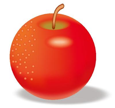 真ん丸なリンゴのイラスト