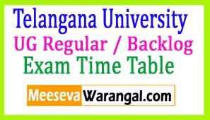 Telangana University UG Regular / Backlog March 2017 Exam Time Table