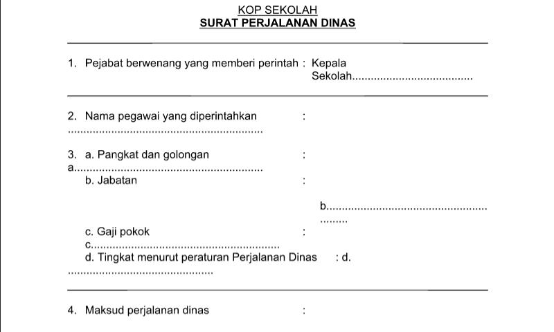 Contoh Format Bentuk Surat Perintah Perjalanan Dinas untuk Perlengkapan Administrasi TU (Tata Usaha) Sekolah