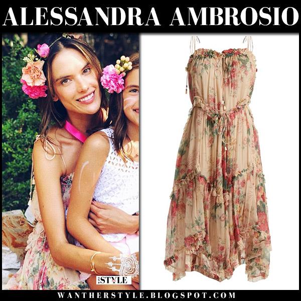 Alessandra Ambrosio in floral print dress zimmermann laelia summer style august 25