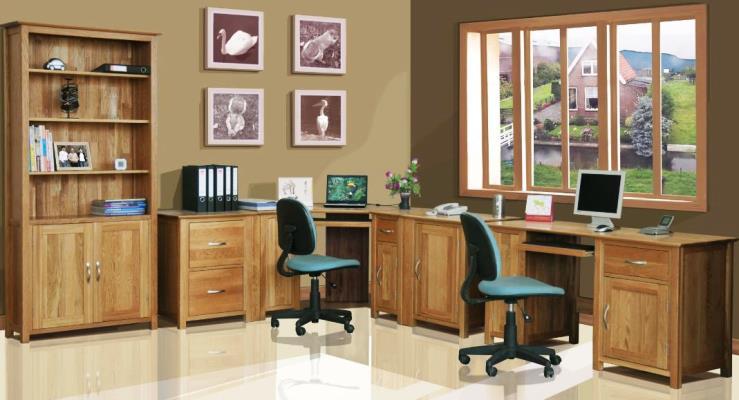 Contemporary Golden Oak Home OFFICE FURNITURE Sets  Best Office