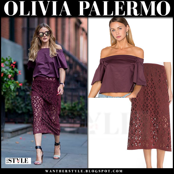 Olivia Palermo in burgundy off shoulder tibi top and burgundy midi skirt tibi aleyda what she wore front row nyfw