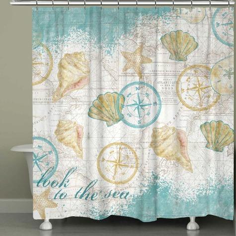 Nautical Chart Shower Curtain