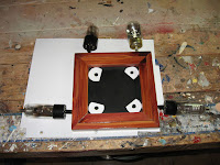 Place the templates in the position on the plywood top that you would like them placed