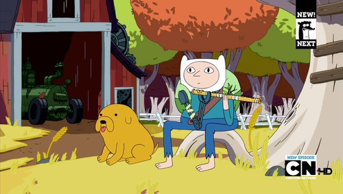 A butt-ugly Finn and an adorable, non-verbal Jake