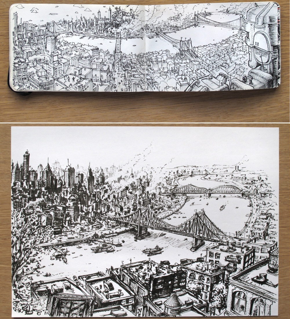 11-Moleskine-and-Doodles-DeckTwo-www-Freehand-Massive-Drawings-using-a-Marker-Pen-designstack-co