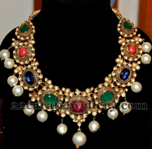 art karat gemstone necklace jewellery designs