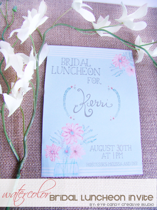 bridal luncheon invite, rustic bridal shower, watercolor invite, wedding