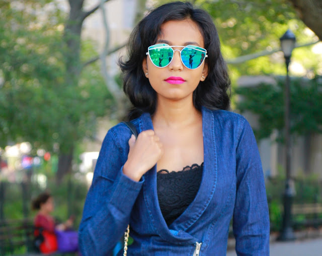 Denim Dress And Fishnet : Fall Fashion New York