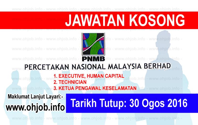 Jawatan Kerja Kosong Percetakan Nasional Malaysia Berhad (PNMB) logo www.ohjob.info ogos 2016