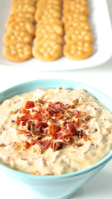 Apricot Cream Cheese Dip with Bacon and Pecans
