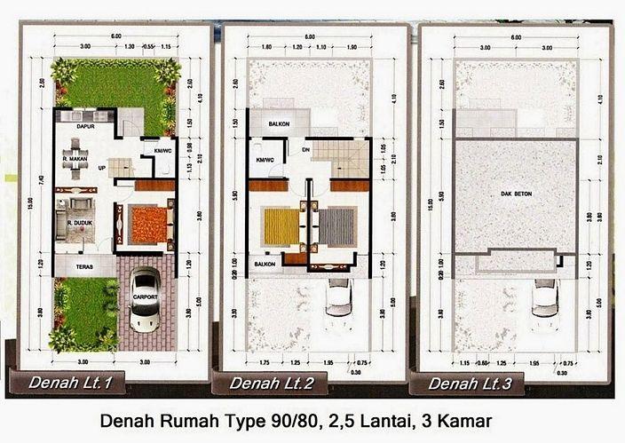 denah rumah minimalis type 90 kreatif