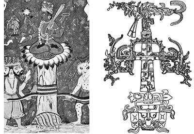 The Turtle [Kurma] supporting Mt. Meru/Mandara and the Mayan World Tree (Wacah Chan).