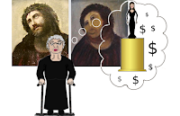 Cartoon of Cecilia Gimenez dreaming of glory after botching the Ecce Homo restoration