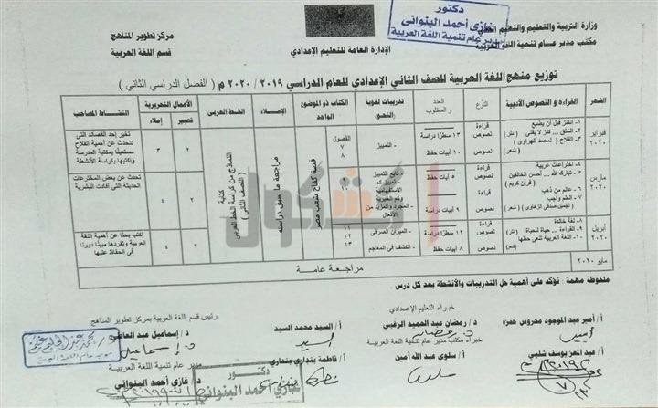 توزيع منهج اللغة العربية الصف الثاني الاعدادي 2020 الترم الثاني