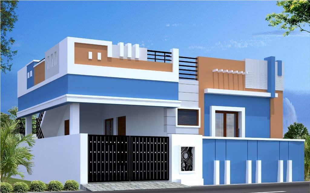 Single Floor Simple Front Elevation : House front elevation single story d design photo picture