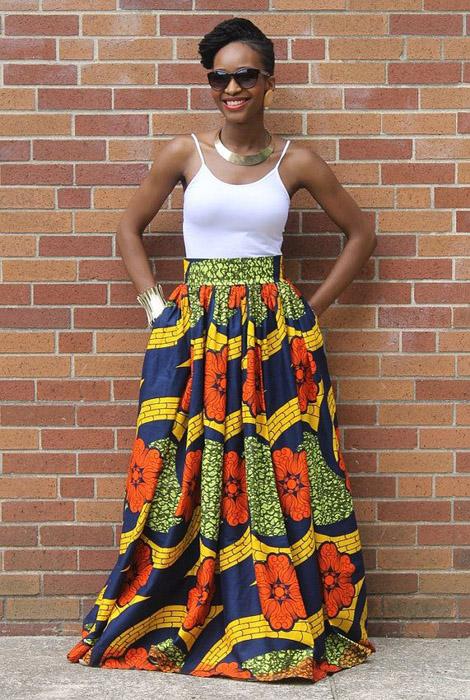 plain and pattern ankara gown (3)