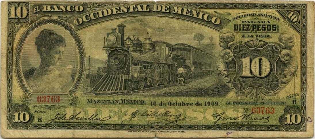 Mexican Banknotes 10 Pesos Note 1900 1913 El Banco Occidental De Mexico World