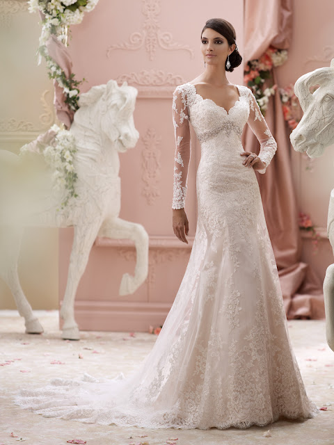 Brautkleid mit langen Ärmeln aus Spitze figurbetont