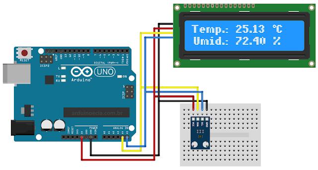Circuito Arduino Uno e sensor HDC1080