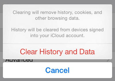 Safari Clear history