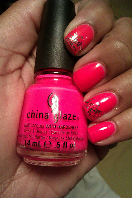 Neon pink, hot pink, China Glaze, Pool Party, glitter tips, nail art, mani
