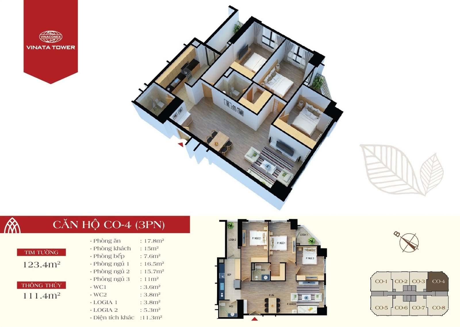 Thiết kế chi tiết căn hộ CO-04 DT 111,4m2 - 3PN, 2VS