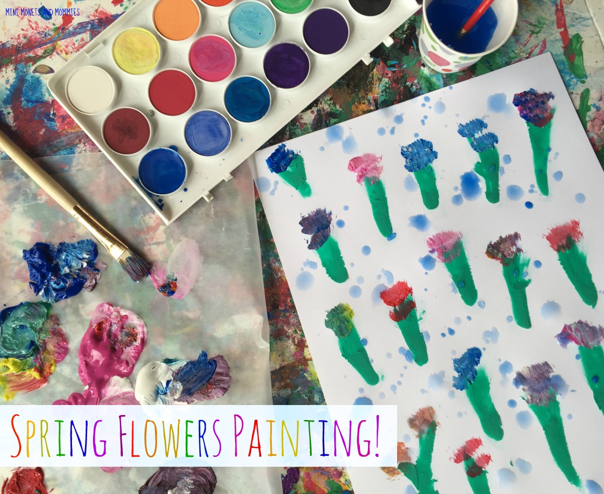Mini Monets And Mommies Spring Showers And Flowers Kids Art Activity