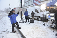 Jim Cantore, The Weather Channel on-camera meteorologist and storm tracker, reports on Winter Storm Jonas in Washington, D.C. (Credit: Kevin Wolf/AP Images for the Weather Channel) Click to Enlarge.