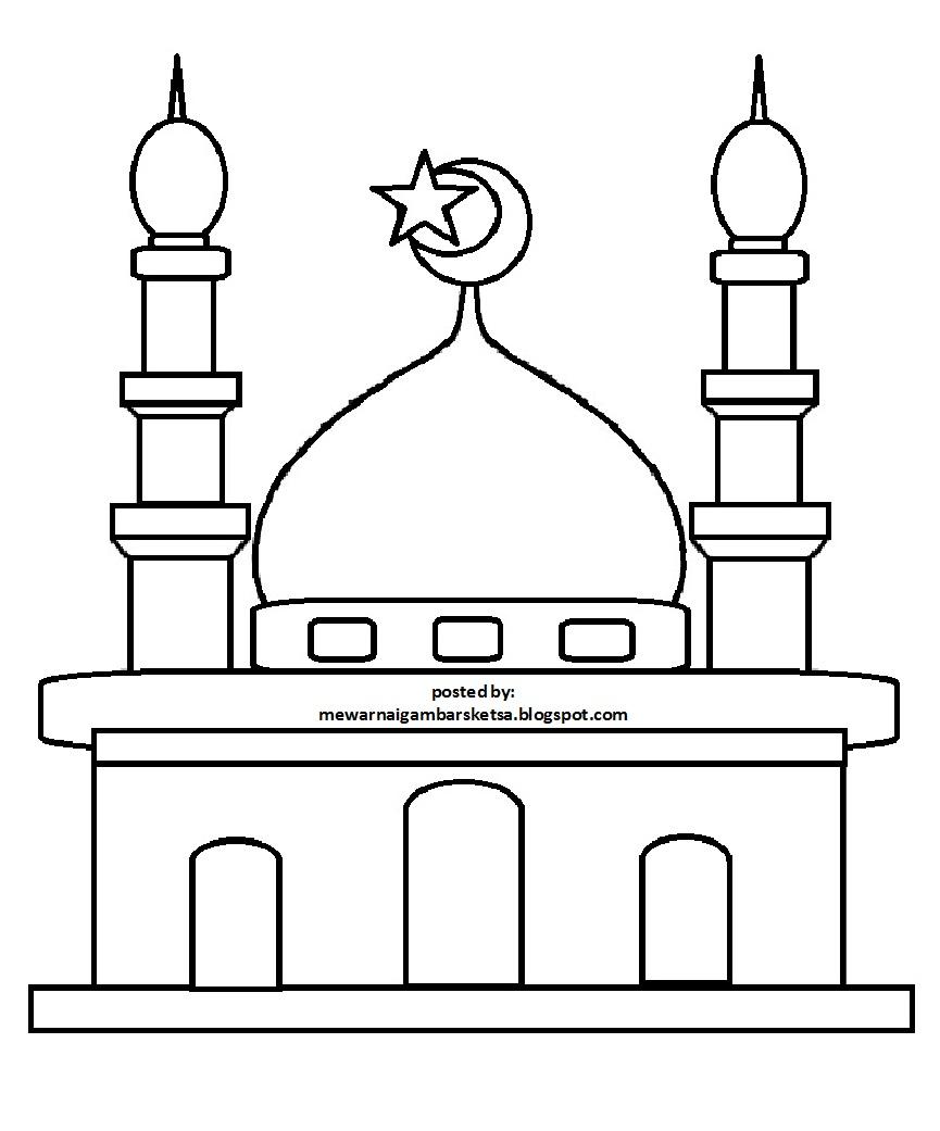 Mewarnai Gambar Mewarnai Gambar Sketsa Masjid 31