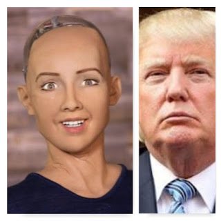 Hanson Robotics Sophia and Donald Trump
