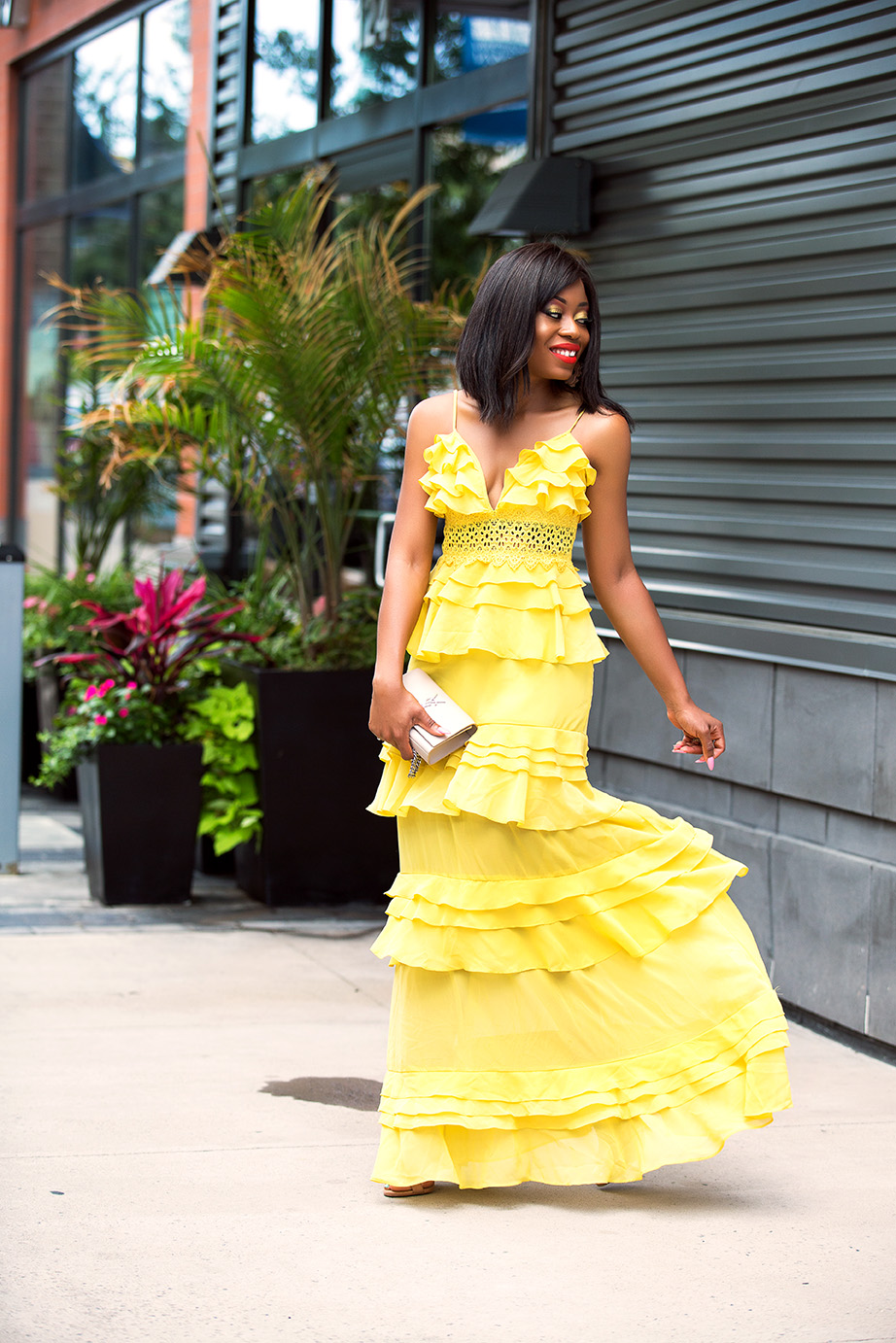 Tiered ruffle dress, wedding guest, www.jadore-fashion.com