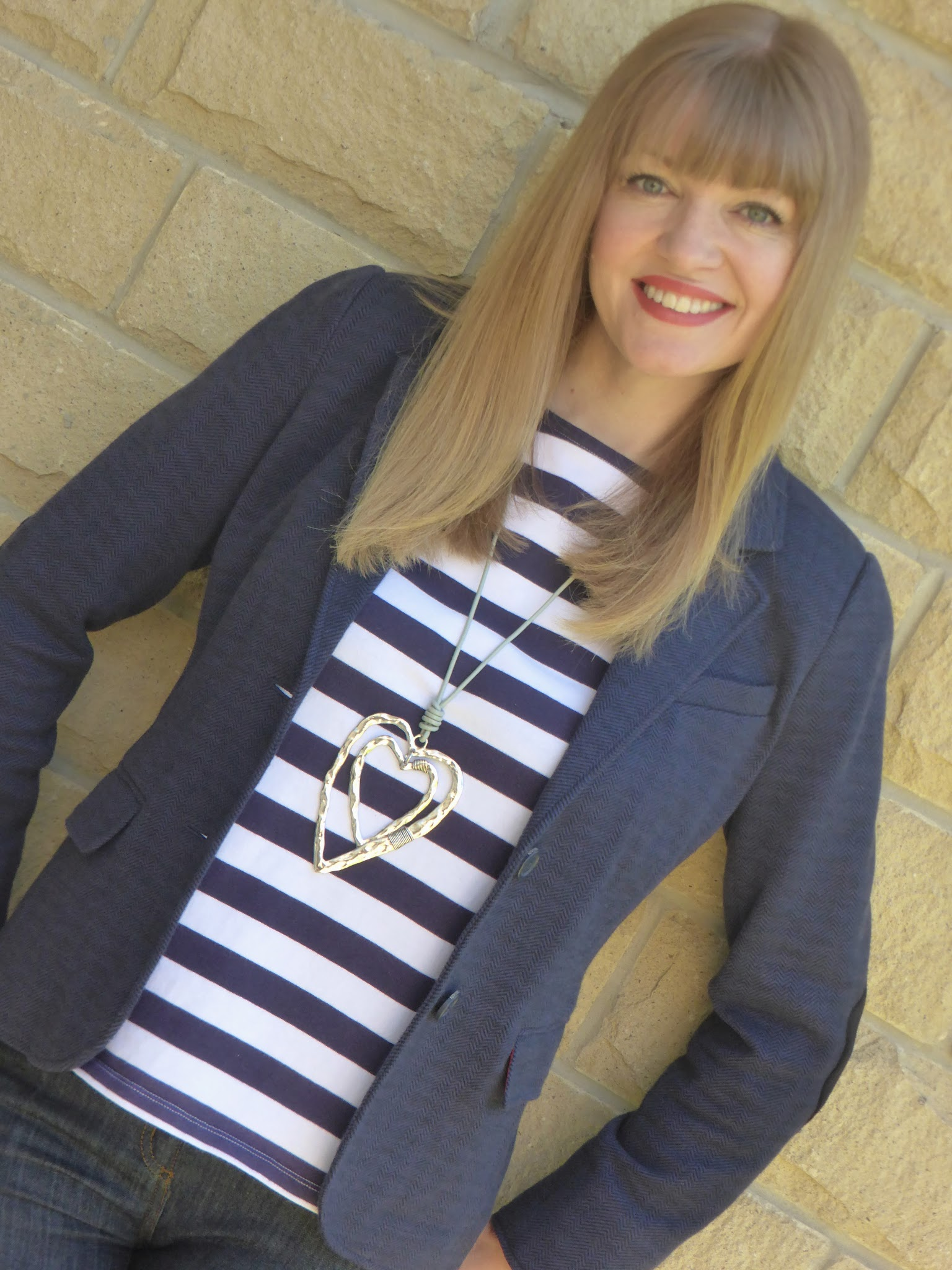 Over 40 blogger What Lizzy Loves wearing Jack Wills Aldburgh breton, Joules navy jersey tweed blazer and large silver heart pendant